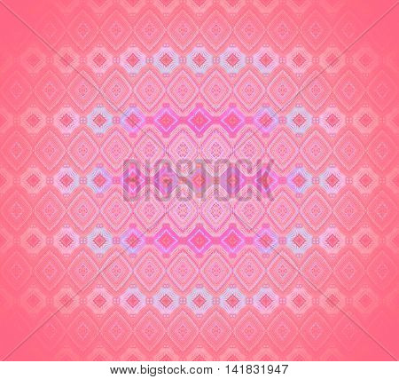 Abstract geometric seamless background. Regular diamond pattern in pink, violet, light blue and purple shades, centered, extensive and dreamy.