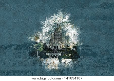 Sacre Coer in cityscape of Paris. Vintage painting, background illustration, beautiful picture, travel texture