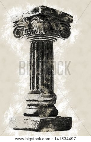 Ionic column on white background. Vintage painting, background illustration, beautiful picture, adstract texture