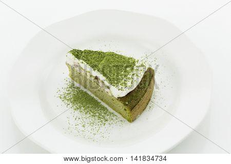 Powdered green tea cake