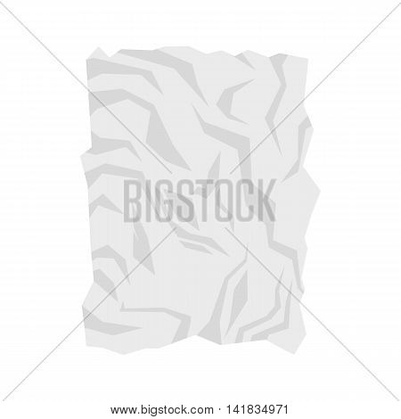 Wrinkled paper icon in flat style isolated on white background. Recycled symbol