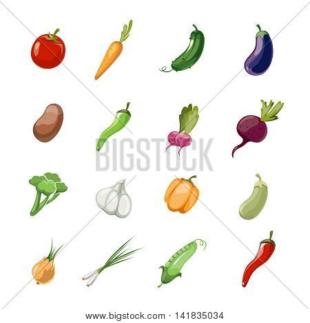 Cartoon vegetables vector. Set of icons vegetable in color style, illustration of vegetarian vegetables