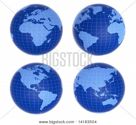 Four  Blue Globes Showing Different Countries