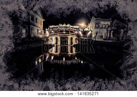 Old japanese bridge at night in Hoi An, Vietnam. Modern painting, background illustration, beautiful picture, creative image.