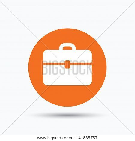 Briefcase icon. Diplomat handbag symbol. Business case sign. Orange circle button with flat web icon. Vector