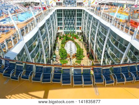 Barcelona, Spaine - September 06, 2015: Royal Caribbean, Allure of the Seas sailing from Barcelona on September 6 2015. The second largest passenger ship constructed behind sister ship Oasis of the Seas.