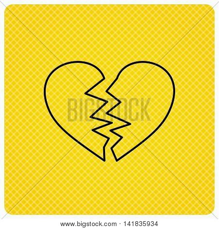 Broken heart icon. Divorce sign. End of love symbol. Linear icon on orange background. Vector