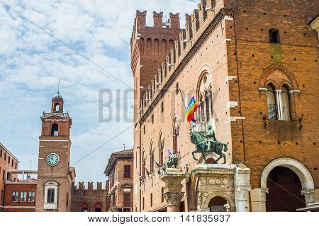 The Ducal Palace of Estense now Guildhall in Ferrara Emilia-Romagna. Italy.