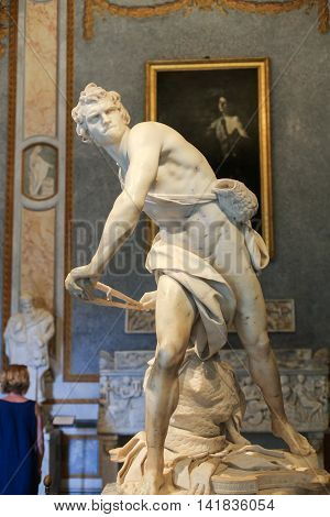 ROME ITALY - JUNE 14 2015: Marble sculpture David by Gian Lorenzo Bernini in Galleria Borghese Rome Italy