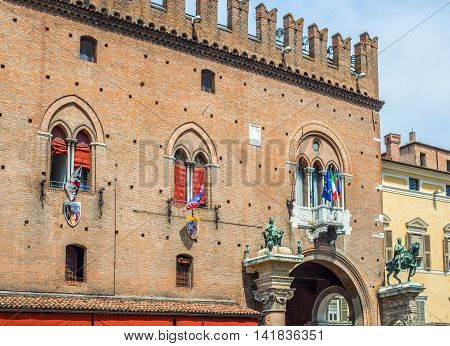 Ferrara Italy - July 21 2016. The Ducal Palace of Estense now Guildhall in Ferrara Emilia-Romagna. Italy.
