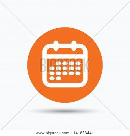 Calendar icon. Events reminder symbol. Orange circle button with flat web icon. Vector