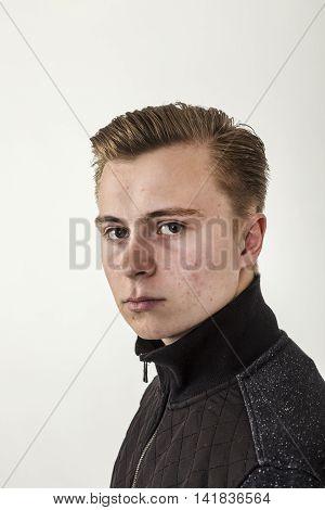 Handsome Teenage Boy In Black Shirt