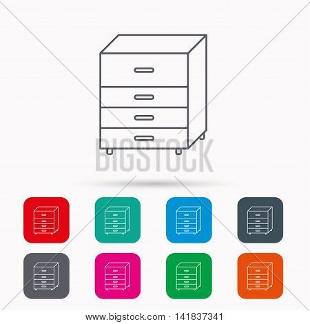 Chest of drawers icon. Interior commode sign. Linear icons in squares on white background. Flat web symbols. Vector