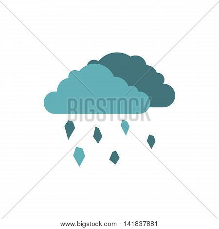Clouds and hail icon in flat style isolated on white background. Weather symbol
