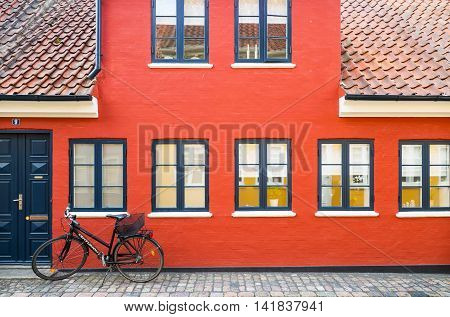 Odense Denmark - July 21 2015: The facade of a traditional house in the old town