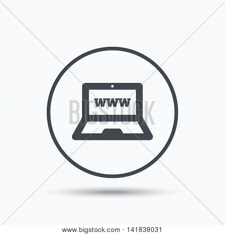Computer icon. Notebook or laptop pc symbol. Circle button with flat web icon on white background. Vector