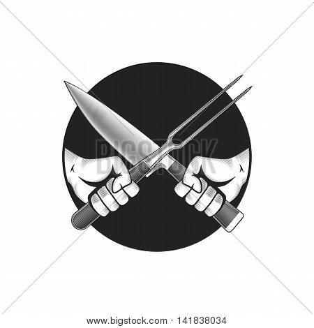 Barbecue or cooking vector illustration. Two hands with crossed knife and fork.