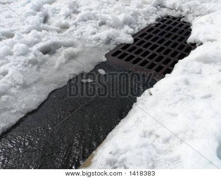 Drainage Path to Sewer Grate in Snow