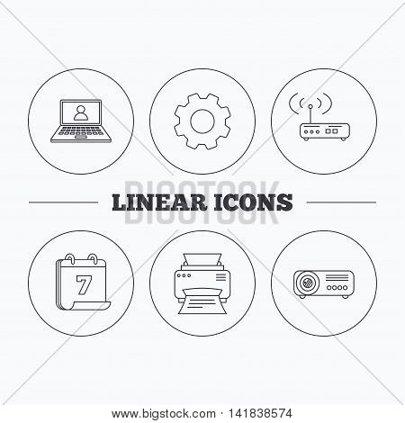 Printer, wi-fi router and projector icons. Webinar linear sign. Flat cogwheel and calendar symbols. Linear icons in circle buttons. Vector