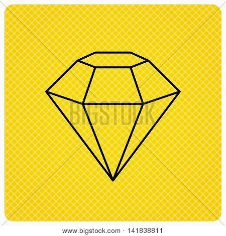 Diamond icon. Brilliant gemstone sign. Linear icon on orange background. Vector