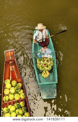 Floating Market In Culture Of Bangkok, Thailand