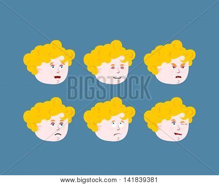 Emotions cupid baby. Set expressions avatar kids amur. Good and evil. Discouraged and cheerful. Curly-haired bo's face vector