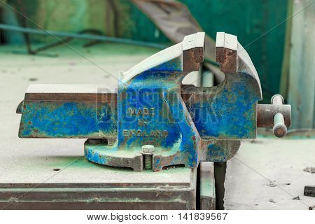One blue obsolete vise-grip made in England