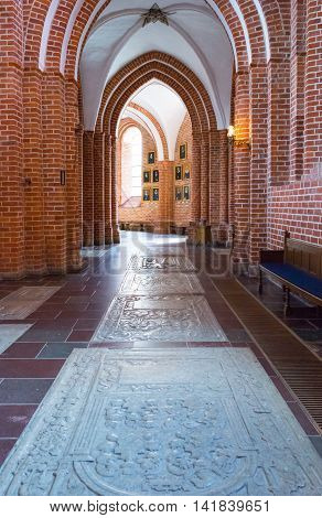 Roskilde Denmark - July 23 2015: The side nave of the medieval Cathedral