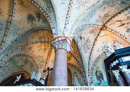 Roskilde Denmark - July 23 2015: The decorated ceiling of the Chapel Of The Magi (Christian I Chapel) in the medieval Cathedral