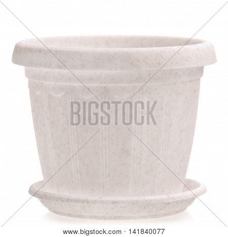 Empty white houseplant pot isolated on white background