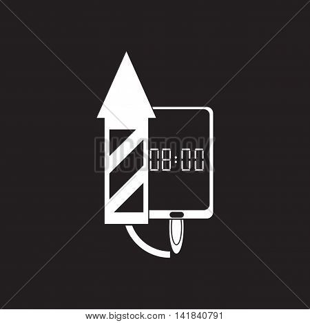Flat icon in black and  white smartphone alarm clock