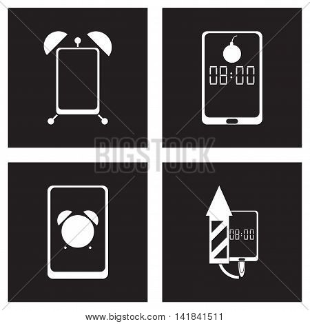 Concept flat icons in black and   white smartphone alarm clock