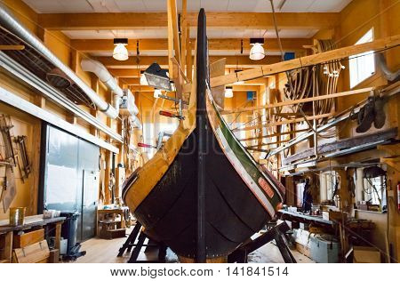 Roskilde Denmark - July 23 2015: A workshop of traditional boat near the Viking Ship Museum