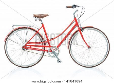 Stylish womens red bicycle isolated on white background