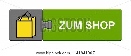 Isolated Puzzle Button with symbol is showing to shop in german language