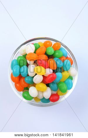 jellybeans in a glass bowl