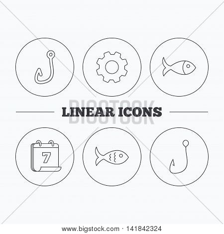 Fishing hook and fish icons. Fish linear sign. Flat cogwheel and calendar symbols. Linear icons in circle buttons. Vector