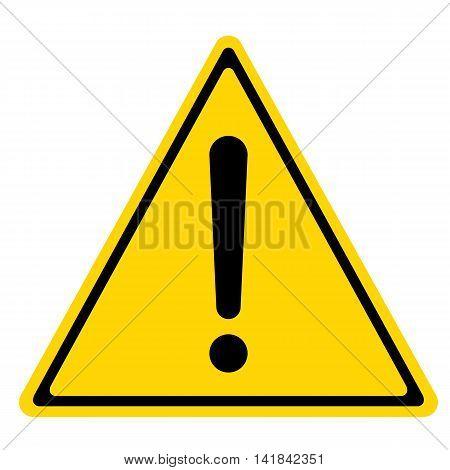 Hazard warning sign with triangle symbol isolated on white background.