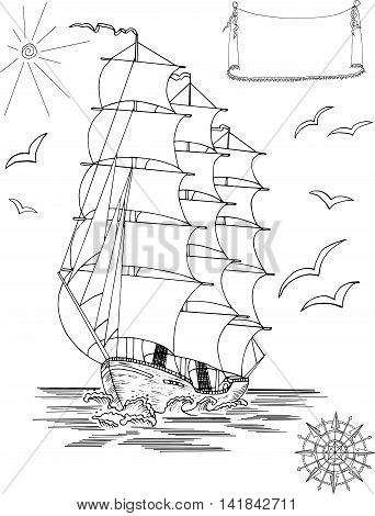 Silhouette of old sailing ship, legend banner, wind rose, gulls and sun, design collection, hand drawing, graphics, isolated on white