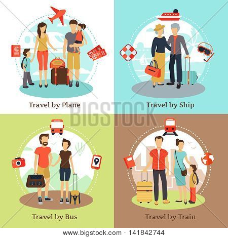 Travelers with baggage transportation concept 4 flat icons square with bus ship train poster abstract isolated vector illustration
