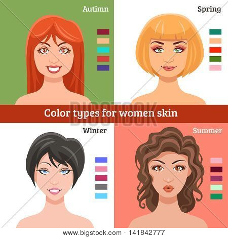 Women skin types for makeup set with winter spring summer and autumn types flat isolated vector illustration