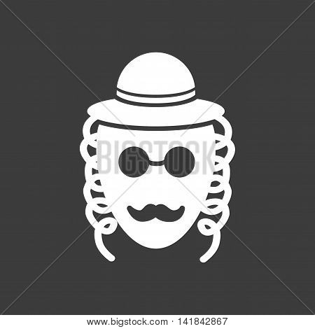 flat icon in black and white style Jew
