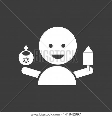 flat icon in black and white style Jewish child