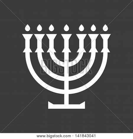 flat icon in black and white style Jewish candle