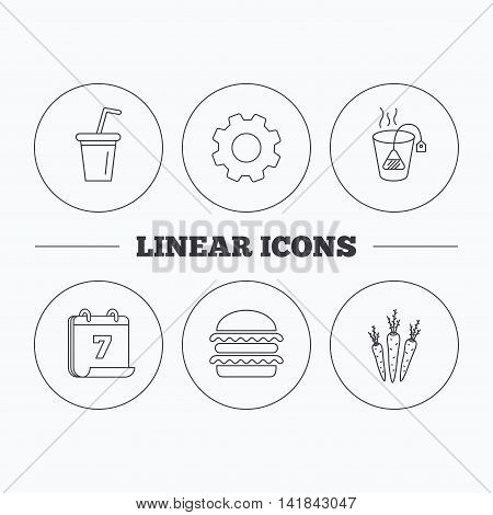 Hamburger, tea bag and soft drink icons. Carrot linear sign. Flat cogwheel and calendar symbols. Linear icons in circle buttons. Vector