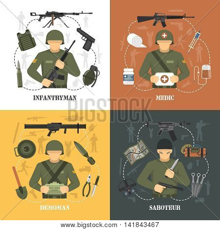 Military army war video games characters 4 flat icons square with saboteur and demoman isolated vector illustration
