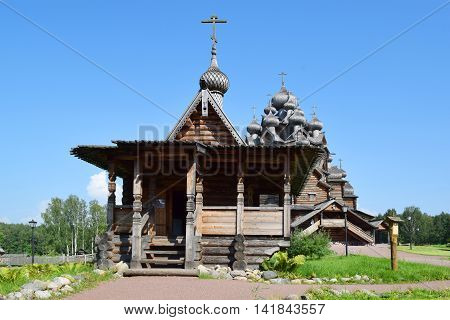 Wooden church (Pokrovskaya church). The monument of wooden architecture Pokrovsky graveyard. St. Petersburg Russia