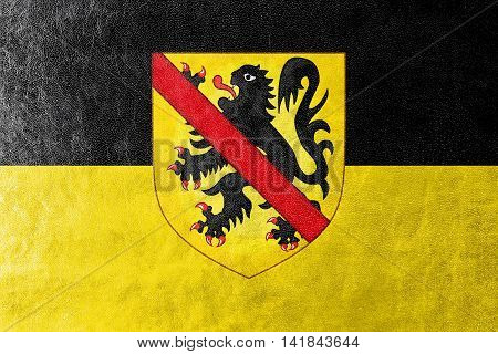 Flag Of Namur With Coat Of Arms, Wallonia Region, Belgium, Painted On Leather Texture