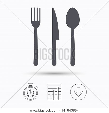 Fork, knife and spoon icons. Cutlery symbol. Stopwatch, chart graph and download arrow. Linear icons on white background. Vector