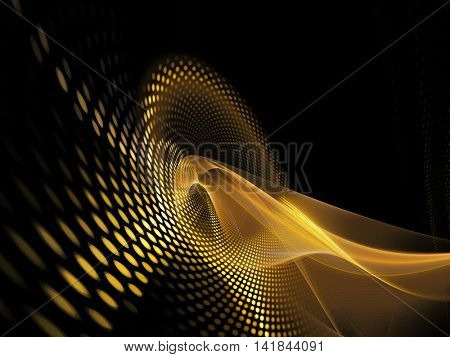 Abstract background element. Fractal graphics series. Three-dimensional composition of glowing lines and mosaic halftone effects. Yellow gold and black colors.